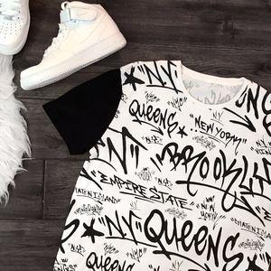 Men's New York, NY Graphic Black & White T-Shirt